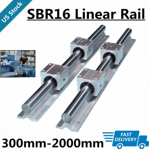 2x Sbr16 L300 2000mm Linear Silde Rail Guide Shaft 4x Sbr16uu Bearing Block Set