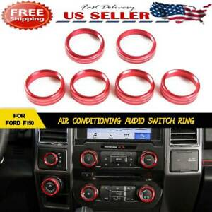 Red Air Conditioner Audio Switch Knob Ring Cover Trim For 16 2018 Ford F150