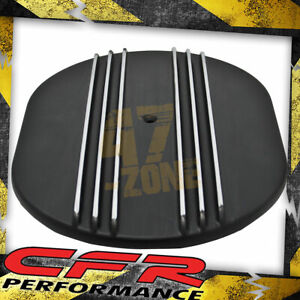 Aluminum 12 Oval Air Cleaner Top Partial Finned Black