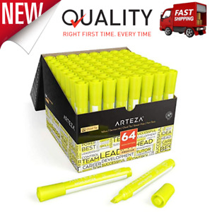 Highlighters Set Of 64 Yellow Color Wide Chisel Tips Bulk Pack Of Markers New