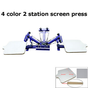 New 4 Color 2 Station Screen Printing Press With Fixed Board Diy Free Shipping
