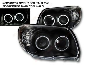 Set Of Pair Black Led Halo Projector Headlights For 2006 2009 Toyota 4runner