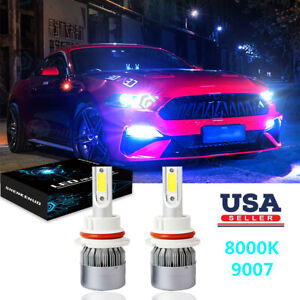 For 99 04 Ford Mustang 2x 8000k Led Headlight Bulbs High Low Beam Combo Kit