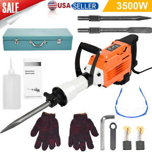 3500w Electric Breaker Concrete Demolition Hammer Drill Tool Double Insulated