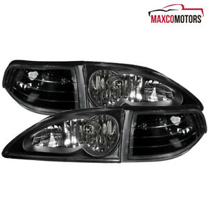 Fits 1994 1998 Ford Mustang Black Headlights W Corner Lamps Left Right 94 98