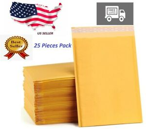 6 X8 inch 25 Pieces Paper Bubble Padded Envelopes Mailers Shipping Case Seal Bag