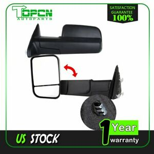 Manual Pair Side View Towing Mirrors For 10 Dodge Ram 11 15 Ram 1500 2500 3500