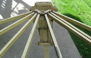 Antique Wooden Wall Mount 8 Spindle Drying Rack In Old Mellow Yellow Paint
