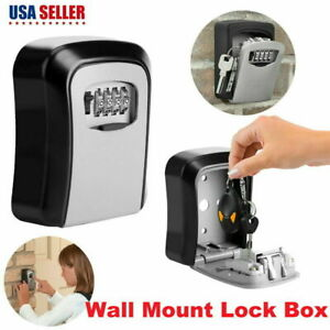 Alloy 4 Digital Outdoor Key Safe Storage Box Wall Mount Cabinet With Key Lock