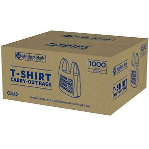 New 1000 Ct T Shirt Bags Plastic Grocery Shopping Carry Out Thank You 12lbs