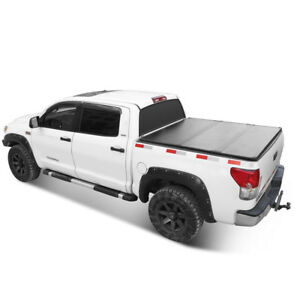Solid Tri fold Tonneau Cover 5 5ft Truck Bed For 2004 2018 Ford F 150 Lock Hard