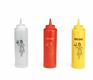 Nostalgia Squeeze Bottle Set 3 Piece Mustard Ketchup Clear Container 12oz