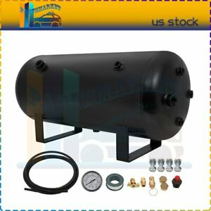 Black Air Tank Kit 5 Gallon 200 Psi Air Gauge Switch Apply To Train Truck Horn