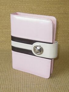 Compact Franklin Covey Pink Faux Leather 1 Rings Open Planner binder