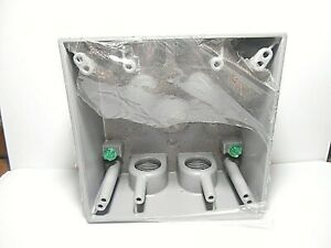 Outdoor Weatherproof Two Gang Aluminum Outlet Box Five Outlet 3 4 31 0 Cu In