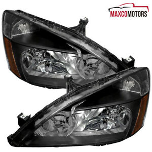 Black For 2003 2007 Honda Accord Sedan coupe Headlights Head Lamps Left right