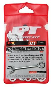 Performance Tool W30681 10pc Sae Ignition Wrench Set