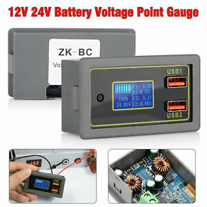 Lcd Dc Battery Capacity Monitor Meter 12v 24v Volt Amp For Cars Rv Solar System