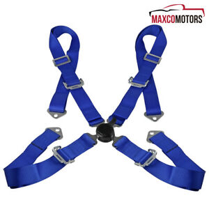 Universal Blue Jdm 4 Point Nylon Strap Camlock Safety Harness Racing Seat Belt
