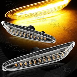 For 2006 2011 Bmw 3 series E90 E91 Clear Lens Amber Led Side Marker Lights Lamp