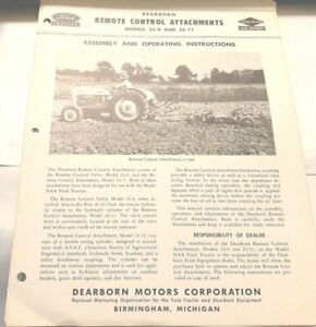 Ford Tractor Dearborn Remote Control Attachments Assembly Operating Instructions
