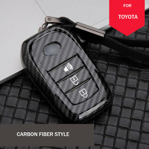 Carbon Fiber Car Key Fob Case Cover Bag For Toyota Hilux Highlander Camry Rav4