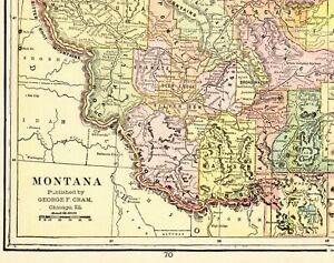 1902 Antique Montana State Map Vintage Cram S Map Of Montana Wall Art 8197