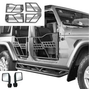 Carbon Steel Half Tube Door With Mirrors Fit For Jeep Wrangler Jk 4dr 2007 2017