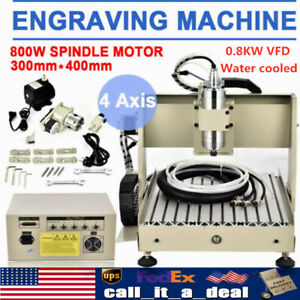 4axis Cnc Router 3040 Engraving Milling Machine 3d Engraver 0 8kw Water Cool Vfd