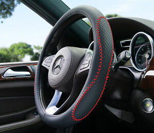 Car Steering Wheel Cover 38cm 15 Odorless Universal Fit Anti Slip Black Red