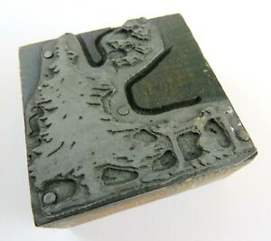 Vintage Letterpress Printer Block Pine Tree With Birds And Fence Illustration