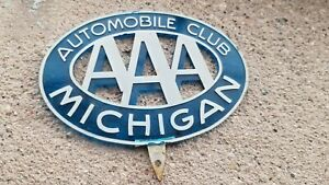 Vintgage Michigan License Plate Topper Triple A Aaa Garage Sign Car Old Mi
