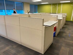 Cubicle partition System By Teknion Office Furniture Beige Fabric