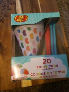 Jelly Belly Snow Cone Disposable Cups And Spoon Straws Multicolor 20 Ct New