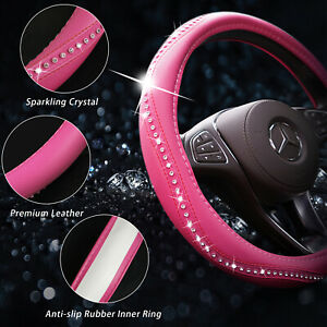Pink Car Steering Wheel Cover 38cm 15 Leather Universal Fit For Girl Women Us