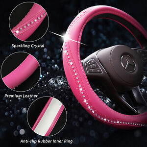 Car Steering Wheel Cover Rhinestone 38cm 15 Universal Fit For Girl Lady Pink Us