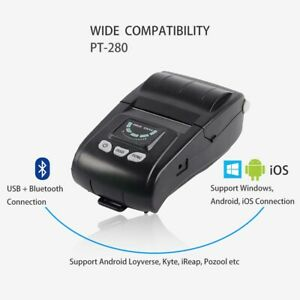 Portable Pt 280 58mm Thermal Receipt Printing Mobile Printer Bluetooth Usb Port