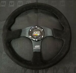 14 Mugen Style Dished Black Stitching Suede Sport Steering Wheel W Horn Button