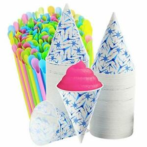 Set Of 400 200 Snow Cone Cups 6 Oz And 200 Sno cone Spoon Drinking Straws Ass