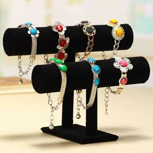 2 Layer T bar Velvet Stand Watch Jewelry Chain Bracelet Necklace Display Holder