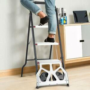 2 In 1folding Ladder And Stepladder Trolley Non Slip Safety Tread Dual use Home
