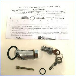 1965 66 Mustang New Repo Trunk Lock Cyl 2 Keys Repro Sleeve Spacer Stem Hdw