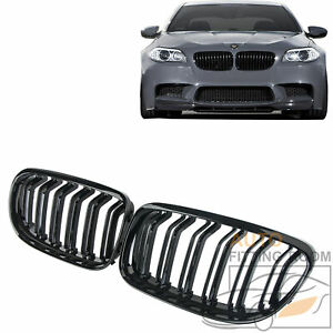 Gloss Black Double Slat Front Kidney Grille Grill For Bmw F10 520i 523i 2010 16