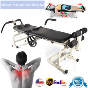 New Therapy Massage Table Cervical Spine Lumbar Traction Bones Stretching Bed Us