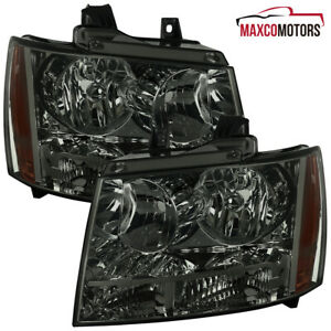 Smoke For 2007 2014 Chevy Avalanche Suburban Headlights Signal Lamps Left right