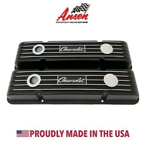 Chevrolet Script Valve Covers For Small Block Chevy Finned Black Ansen Usa