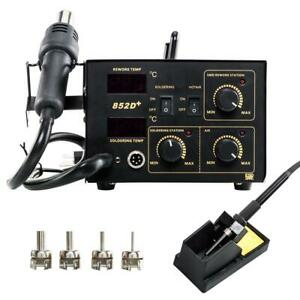 2in1 852d Soldering Rework Stations Smd Hot Air Iron Gun W 5 X Solder Tips