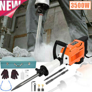 240v 3500w Electric Breaker Concrete Demolition Hammer Jack Drill Tool Kit 45j