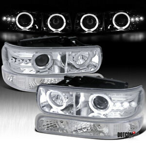 For 1999 2002 Silverado 2000 2006 Tahoe Clear Lens Led Halo Projector Headlights