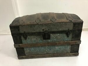 Vintage Steamer Trunk Storage Chest Camelback Humpback Brown Antique Toy Box